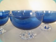 Dark blue dessert bowls with foot in                           clear glass