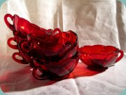 Ruby red pressed glass bowls