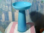 Large vase or                           candlestick in turquoise opaline glass
