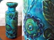 60's West German pottery Bay Keramik                           turquoise floral pattern vase 72-25
