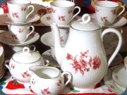 Rörstrand Swedish Grace coffee set with                           pink/burgundy floral desor, Louise Adelborg