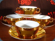 Royal Worcester Gold                           Lustre cream soup bowls and saucers