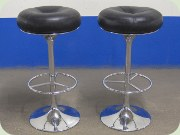Chrome & black leather bar stools by Johansson Design, Sweden