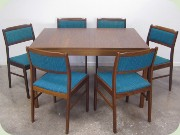 Walnut table and chairs by Skaraborgs Möbelindustri, Tibro