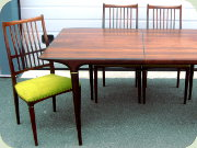 Swedish 50's Cortina rosewood dining                           table with 2 leaves and 4 chairs, Svante                           Skogh, Seffle Möbelfabrik