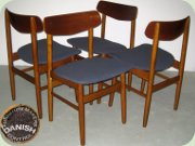 Set of four 60's Danish design teak chairs probably by Farstrup