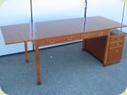 50's mahogany desk with drop leaves, Swedish design by David Rosén for NK Nordiska kompaniet 1953