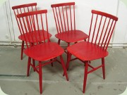 Swedish 60's red stained chairs by Edsbyverken