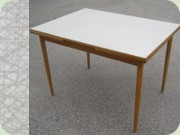 Extending dining table by Edsbyverken, Perstorp laminated top in the well known pattern Virrvarr by Sigvard Bernadotte