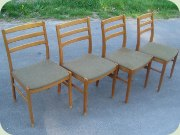 Set of four beech dining chairs