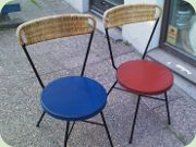 50's Swedish sidechairs Holm Populär, black lacquered steel, wicker & vinyl