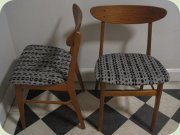 60's teak & beech re-upholstered dining chairs, IKEA Monaco