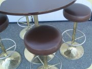 Late 60's Swedish bar table and stools with brass tulip base by Johansson Design