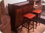 Danish 60's rosewood bar SK661 with stools, Johannes Andersen