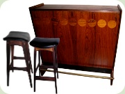 Danish design 60's rosewood bar with 2 chairs by Johs Andersen
