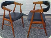 Set of 4 teak armchairs with vinyl upholstery, Scandinavian 50's probably Danish design