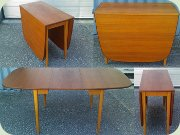 Swedish 50's teak & oak drop leaf dining table by Tengblads Möbler Landsbro