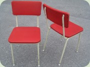 Swedish 50's kitchen chairs in white lacquered steel and red vinyl