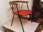 50'sSwedish side chair, teak, black lacquered steel & vinyl