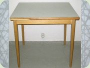 Swedish 50's or 60's small extendable table, table top in Perstorp laminate pattern Virr-varr by Sigvard Bernadotte