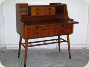 Swedish 50's mahogany secretary with magazine shelf and tapered legs