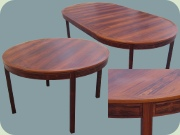 Swedish 60's rosewood dining table with extension leaves, Bodafors Bertil Fridhagen