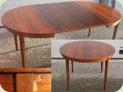 60's rosewood round dining table with extension leaves