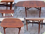 50's or 60's split leg dining table, square with rounded corners and leaves