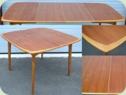 Swedish 50's teak & oak dining table with leaves
