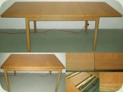 60's or 70's oak dining table with 2 leaves, made in Norway