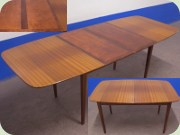 Swedish 50's mahogany dining table with extension leaves