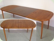 Swedish 50's or 60's teak dining table with leaves