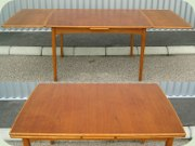 Swedish 50's or 60's teak & oak dining table with dutch leaves