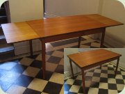 50's or 60's teak dining table with extension leaves Scandinavian design