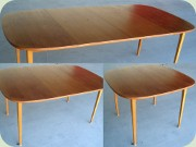 Swedish 50's teak squared dining table with 2 leaves