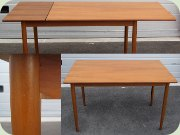 Swedish 50's or 60's teak dining table with leaf