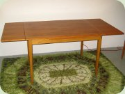Swedish 50's teak veneer dining table with dutch leaves