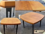 Swedish 60's teak dining table with black legs, Threemen