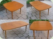 Teak dining table with extension leaves, Threemen