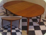 Swedish 60's round teak dining table with extension leaves, Troeds Malta by Nils Jonsson
