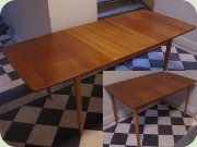 Swedish 50's or 60's rectangular dining table with extension leaves, Hugo Troeds Bjärnum
