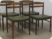Swedish 60's rosewood dining chairs with green vinyl upholstery, Albin Johansson & Söner, Hyssna