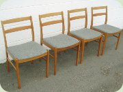Set of four Swedish 60's beech dining chairs.