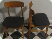 Swedish 50's or 60's teak & beech dining chairs, re-upholstered in black vinyl