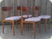 Set of four 50's or 60's Swedish or Danish design teak & oak dining chairs