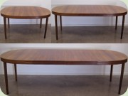 Swedish 60's rosewood oval dining table with leves, Skaraborgs Möbelindustri, Tibro.