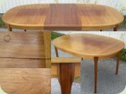 Swedish 60's walnut dining table with one leave