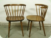 A pair of Swedish 50's stained birch side chairs, probably designed by Yngve Ekström
