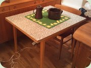 50's table with checkered Perstorp laminate top