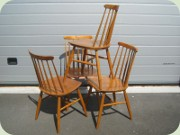Four spindle back chairs
